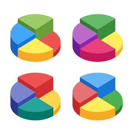 Pie chart on isolated background. Set of bulk isometric pie char