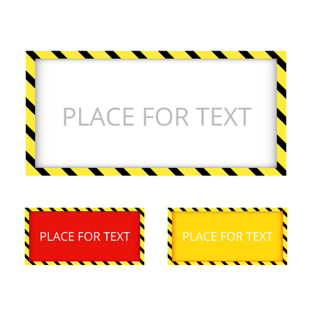 hazard stripes: Border yellow and black color. Construction warning border. Vect