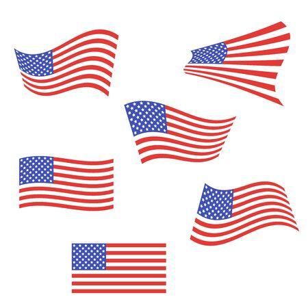 Set of American flags Illusztráció