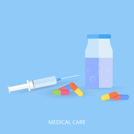 Medical syringe, tablets and a jar with blue liquid. Blue background and flat style. Vector illustration.