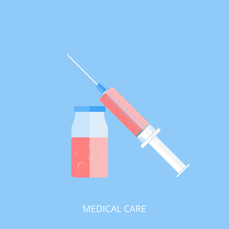 Medicine and a medical syringe filled with red liquid. Blue background and flat style. Vector illustration.