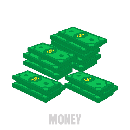 Piles of paper money. Green dollars. The concept of financial well-being. Vector illustration.