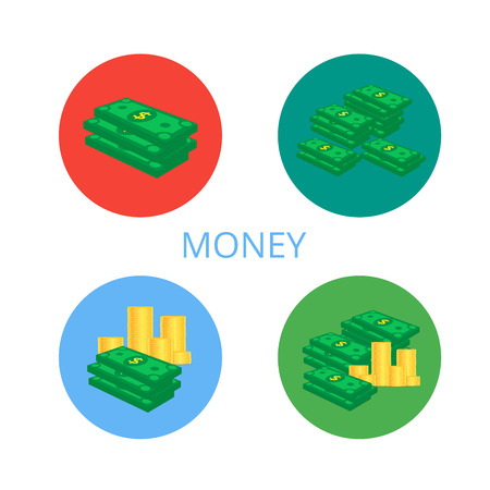 A set of icons in a flat style. Stacks of paper money and a pile of gold coins. Green dollars. The concept of financial well-being. Vector illustration. 矢量图像