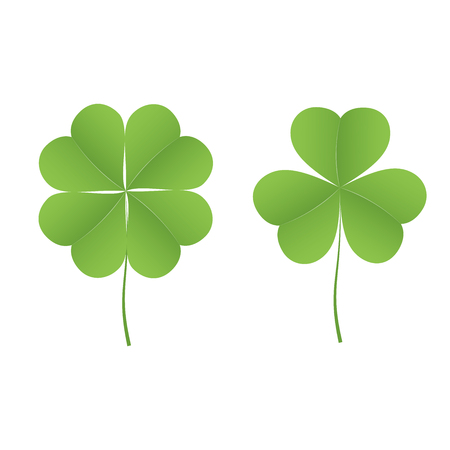 Icon of four-leafed clover and three-leafed clover. Set of icons on white background Vector illustration.