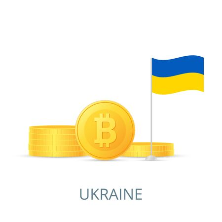 The concept of legalization of crypto currency in different countries. Gold coins bitcoins. Flag of Ukraine. Vector illustration.