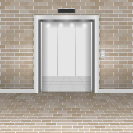 The concept of an open lift in a brick wall. Vector illustration.
