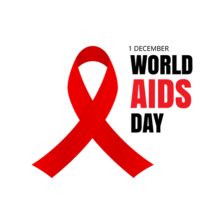 World AIDS Day. Red ribbon isolated on white background. Vector illustration. Illustration