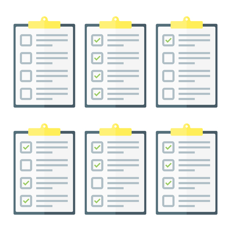 Claim form set on clipboard , to do list. Flat style isolated on a white background. Vector illustration.