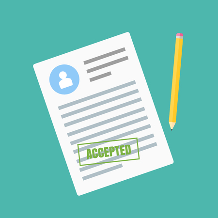 The form of employment. Claim form in a flat style isolated on a blue background. Vector illustration.