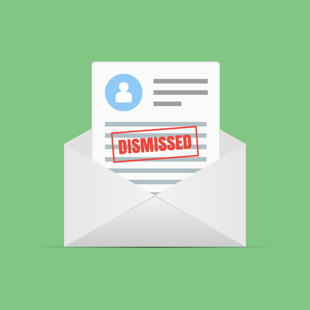 Form of dismissal in letter. Claim form in a flat style isolated on a green background. Vector illustration.