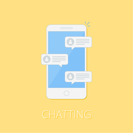 Notification about the instant message on a smartphone. The concept of chatting in messenger. SMS bubbles on mobile phone screen. Flat style. Vector illustration.