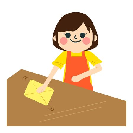 She cleans the table. 向量圖像