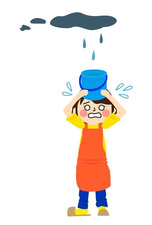 Woman Holding Bucket With Leakage Water