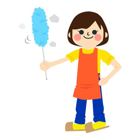 The Girl Who Does Housework with feather duster Ilustração
