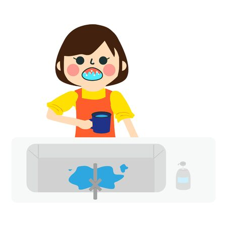 a girl gargles with mouthwash