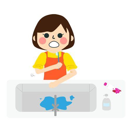 a girl is brushing  teeth