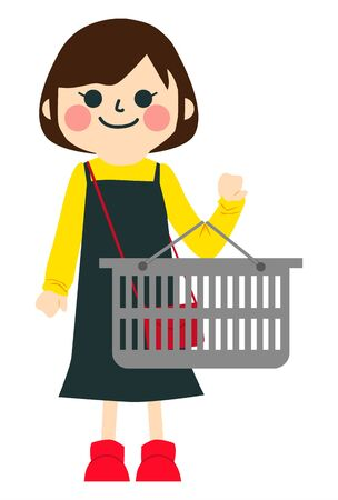a girl is Shopping in supermarket.