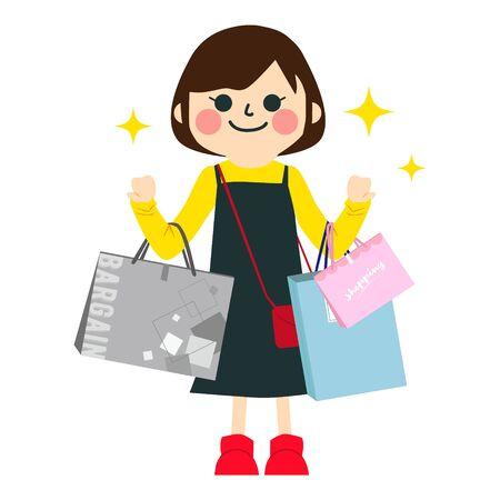 Illustration of women enjoying shopping Vektorové ilustrace