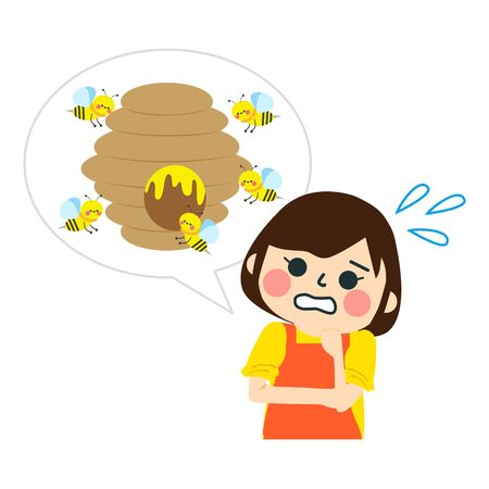 Beehive, hornets or wasp nest cartoon victor illustration