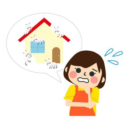 Termite makeage house. cartoon victor illustration Stock Illustratie