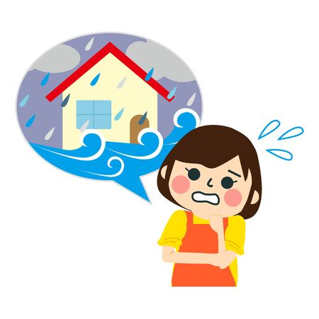 Home flooding under water. Vector illustration