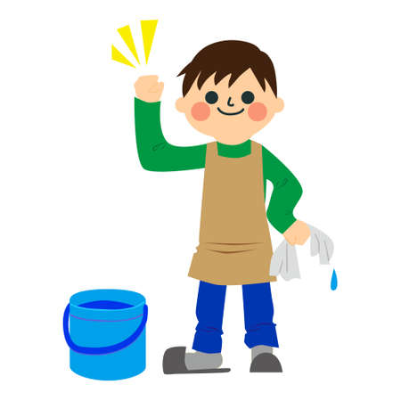 A boy who does housework.