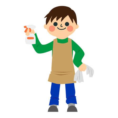 A boy doing housework.