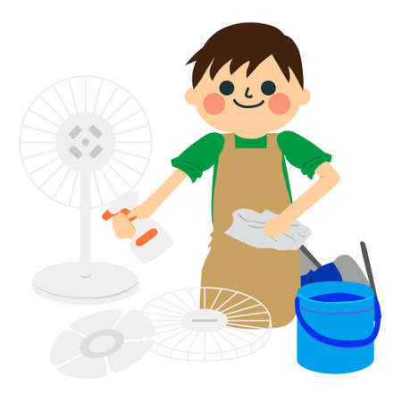 man cleans the electric fan Иллюстрация
