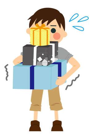 Illustration of men enjoying shopping