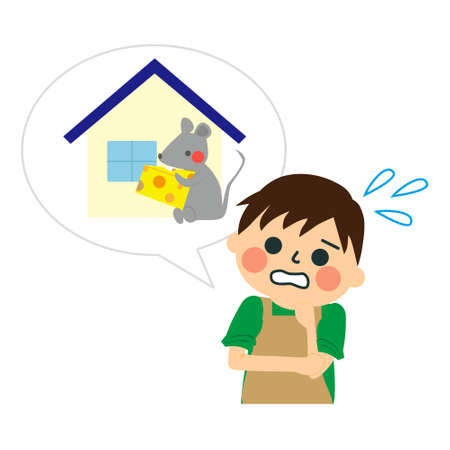Illustration of house icon with mouse