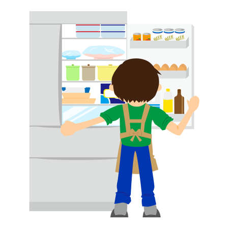 A boy opening the fridge while making dinner. Housework concept