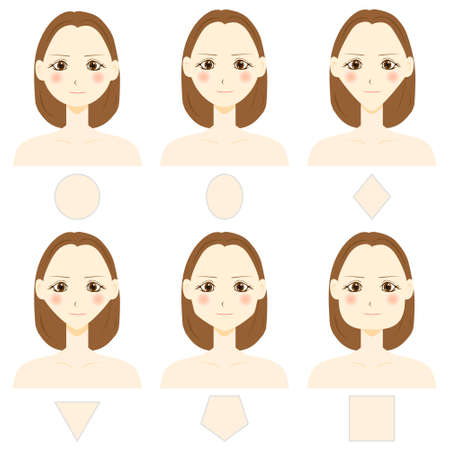 Set of vector face shapes. Oval, triangle, round, square, base type.