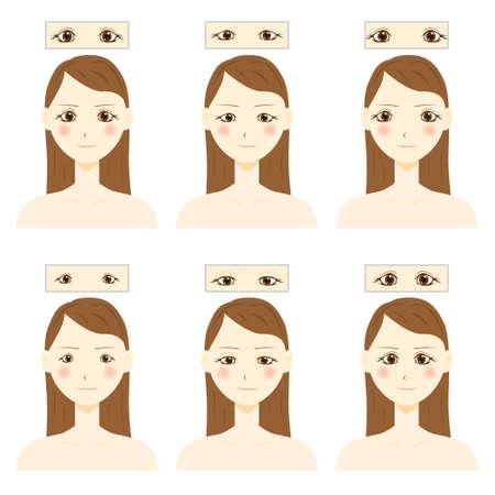 Eye shapes and types. Various female eye shapes. 矢量图片