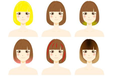 Set of Beautiful women hair color type. Vecteurs