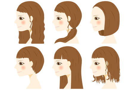 Girl character illustrations with various hair style.