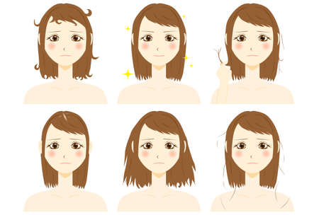 A woman is confused by hair trouble Иллюстрация