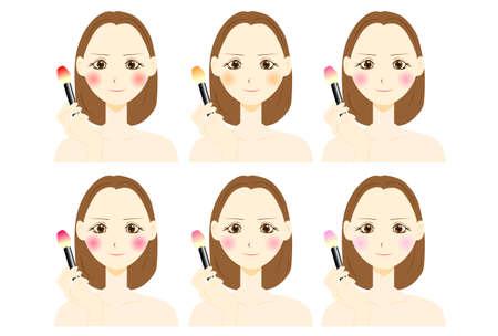 types of blush. vector illustration