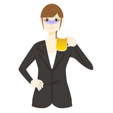 Office worker toasting with beer Ilustração