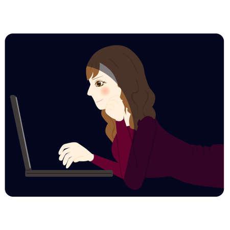 women using personal computer. vector illustration Ilustrace