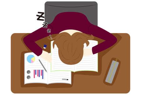 woman sleeping on desk hard studying day.