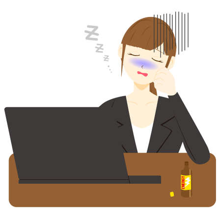 Beautiful woman sleeping on bed with laptop hard working day. Illusztráció