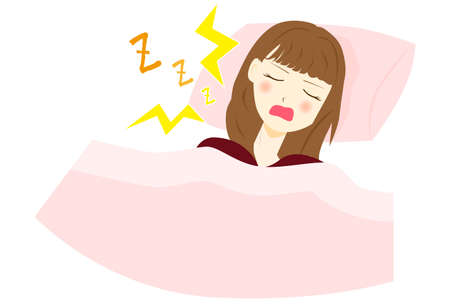 vector illustration of a snoring woman