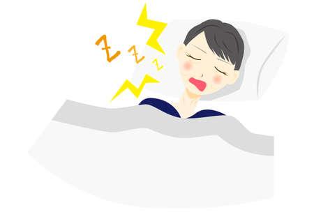 vector illustration of a snoring middle aged woman Illusztráció