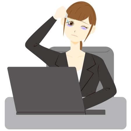 Business woman applying eye drops.