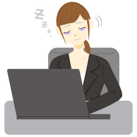 businesswoman sleeps  in front of the computer