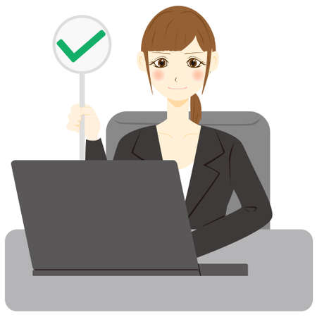 Facial expression of a female office worker with a personal computer. checkmark