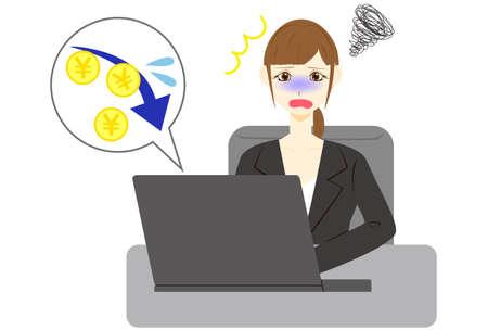 Businesswoman using computer. Yen arrow down rate decrease price value finance.