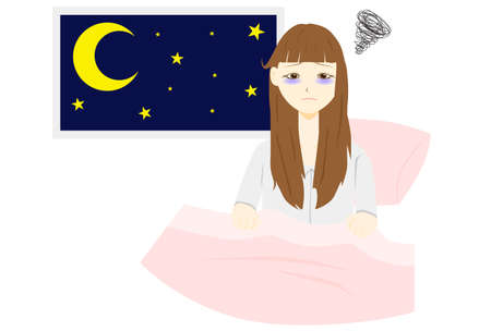 Illustration of a woman with insomnia