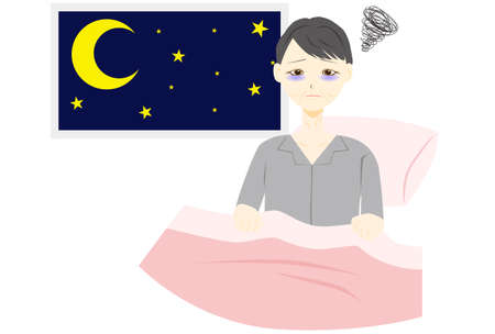 Illustration of a middle aged woman with insomnia 版權商用圖片 - 155133633