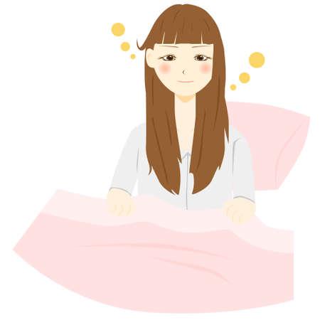 Women wake up. Vector illustration  イラスト・ベクター素材